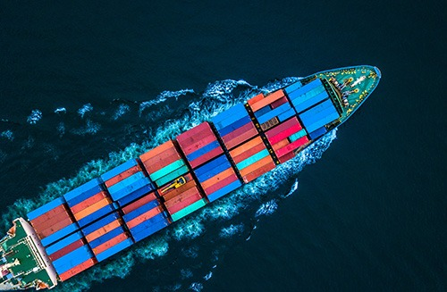 Aerial view from drone, container ship or cargo ship in import e